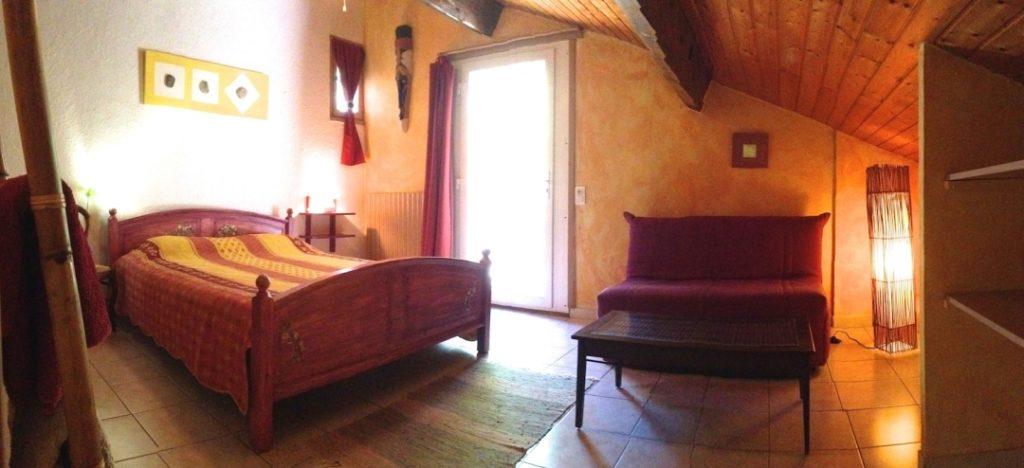Chambre d\'hôtes en Ardèche : la chambre Savane au Bois Baroque